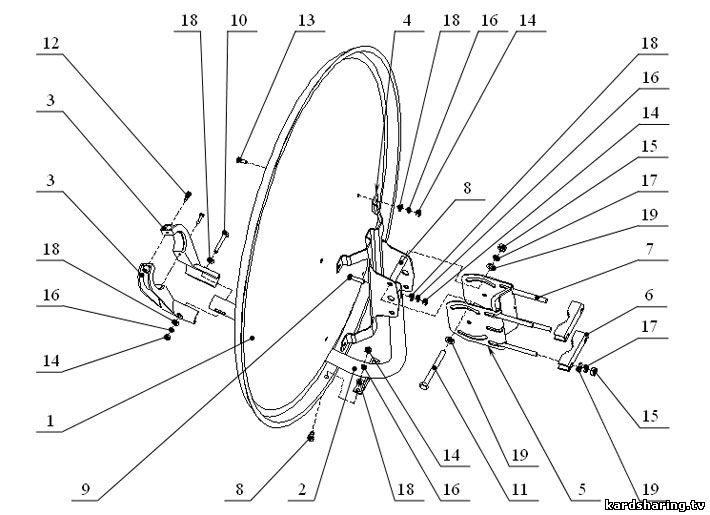 1 – зеркало антенны; 2 – рама;